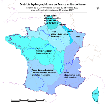 carte districts hydrographique en France